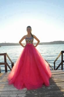 Sequined Strapless Red Ball Gown Elegant Long Prom Dress with Tulle Overlay