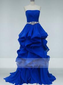 Ball Gown Flower Royal Blue Beaded Strapless Ruffled Gorgeous Prom Dress