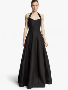 Simple Ball Gown Halter Neckline Backless Long Black Satin Prom Dress