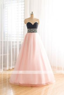 Two Tone Strapless Sweetheart Black Top Beaded Ball Gown Tulle Skirt Vintage Prom Dress