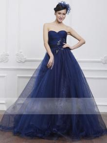 Navy Blue Shining Tulle Ball Gown Prom Dress Strapless Sweetheart