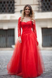 Red Tulle Long Sleeve Ball Gown Vintage Long Prom Dress with Bolero Jacket