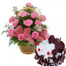 Lovely Pink Rose basket with Black Forest Cake  Combo includes 12 pink rose flower in a basket a ...