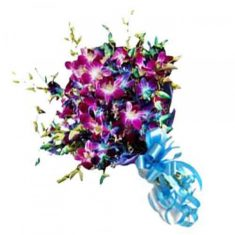 10 Purple Orchid Bouquet  10 purple orchids wrapped in cellophane and tied in fancy blue ribbon