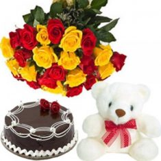 Sweet Rose and Teddy Combo  Combo includes 15 rose bouquet of red and yellow roses, a 6″ t ...