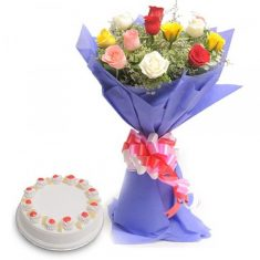 Multicolour Rose N Cake Combo – Flower Combos – Flowers