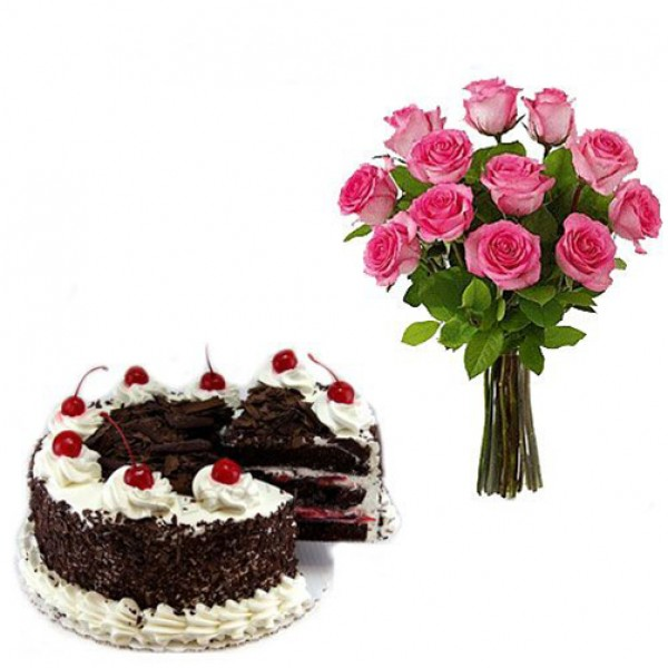 Pink Roses and Black forest – Flower Combos – Flowers
