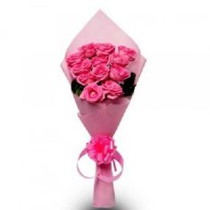 12 Pink Roses Bouquet – Roses – Flowers By Types – Flowers