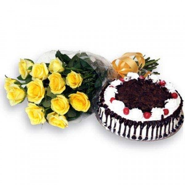 Yellow Roses N Black forest – Flower Combos – Flowers