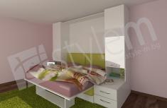 3D визуализация на идеен проект за падащо двойно легло, комбинирано с диван и с крак-полица, коя ...