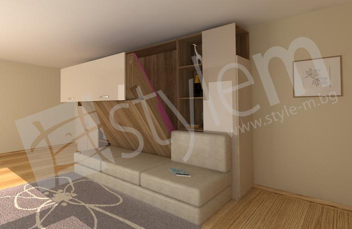 3D визуализация на идеен проект за падащо двойно легло над диван