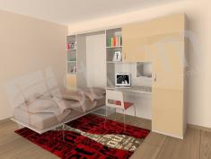 3D визуализация на идеен проект за падащо единично легло, част от секция за детска стая