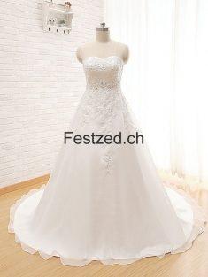 A-Linie Herzausschnitt Weiß Organza Brautkleider – Festzed.CH