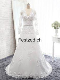 A-Linie V-Ausschnitt Lang-Ärmel Weiß Spitze Brautkleider – Festzed.CH