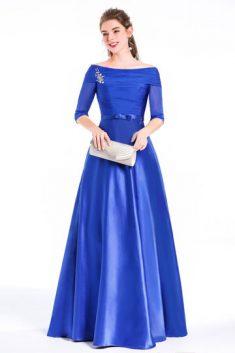 Robe bleue de soirée longue formelle pour gala noel reveillon soirée cérémonie bleue col Bardot  ...