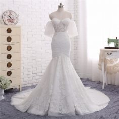 2018 Fashion Strapless Lace Appliques Off Shoulder Mermaid Bridal Gown with Sheer Bodice
