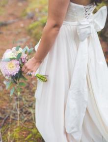 A-Line Strapless Sweetheart Lace Fall Ruffled Chiffon Casual Wedding Dress – GroupDress.com