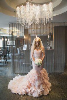 Blush Tulle Tiered Ruffled Mermaid Stunning Strapless Wedding Dress – GroupDress.com