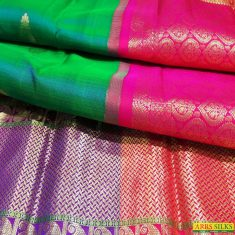 Pure Kanchipuramsilk sarees from ARRS Silks and feel the richness of its traditional and intrica ...