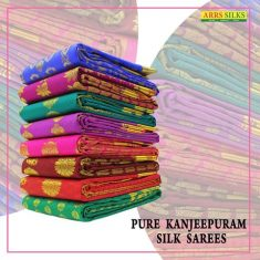 Latest collection of Pure Kanchipuram silk sarees from ARRS Silks and feel the richness of its t ...