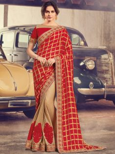 Venetian Red And Cream Yellow Chiffon And Jute Net Embroidered Party Saree