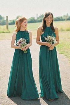 Sexy Sleeveless Chiffon Long Floor Length Bridesmaid Dresses B357 – Ombreprom