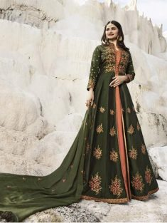 Buy Green & Peach Embroidered Anarkali Suit Online in India | YOYO Fashion – YOYO.Fashion