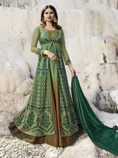 Buy Green Chiffon Embroidered Anarkali Suit Online in India | YOYO Fashion – YOYO.Fashion