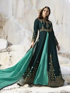 Buy Peacock Blue Embroidered Anarkali Suit Online in India – YOYO fashion – YOYO.Fashion