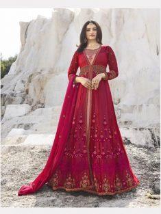Buy Pink & Peach Embroidered Anarkali Suit Online in India   YOYO Fashion – YOYO.Fashion