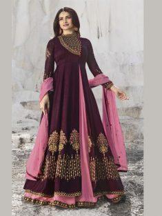 Buy Wine & Pink Embroidered Anarkali Suit Online in India | YOYO Fashion – YOYO.Fashion