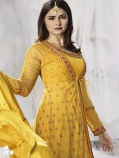 Buy Yellow Embroidered Anarkali Suit Online in India | YOYO Fashion – YOYO.Fashion