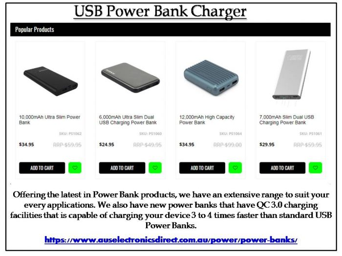 At Aus Electronic Direct Offering the latest in Power Bank products, we have an extensive range  ...
