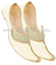 Designer Work Cream Wedding Mojari,Cream