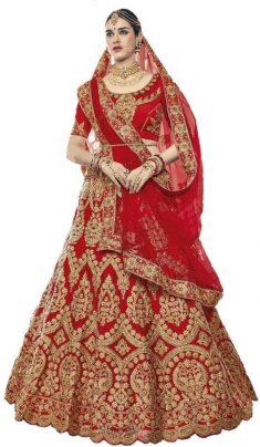 Embroidered Semi Stitched Lehenga, Choli and Dupatta Set (Red)