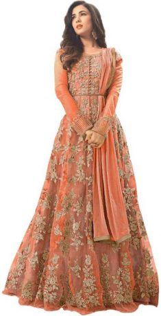 Aryan Fashion Store Poly Georgette Embroidered Gown/Anarkali Kurta & Bottom Material (Semi  ...