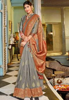 Woven Art Silk Saree in Grey : SSF11471