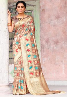 Woven Art Silk Saree in Light Brown : SPTA4013