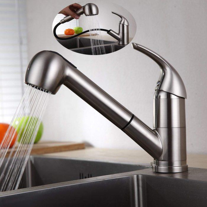 Ausziehbare Küchenarmatur Doppelfunktion 120° drehbare küche wasserhahn Homelody