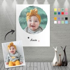 Custom Canvas Painting For Baby Portrait With Name-Circular