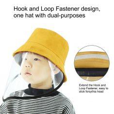 Kinder Sommerhut Bucket Faltbarer Hut mit transparentem Gesichtsschutz Beach Safari Wanderbogen, ...