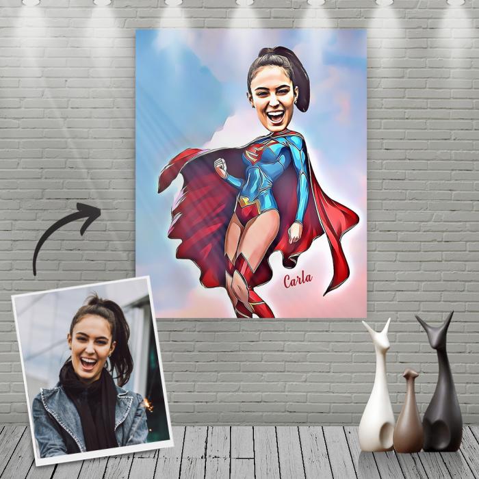 Custom Super Woman Cartoon Portrait With Name Canvas