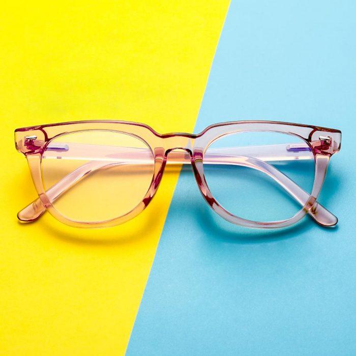 Anti Blue Light Glasses Women/Men Pink Crystal – EyeWearShop