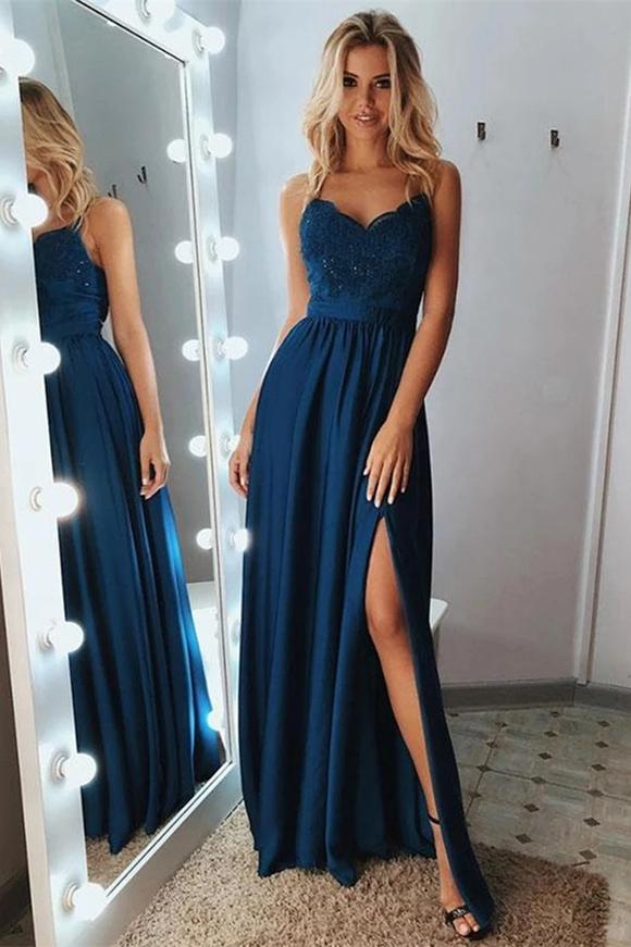Buy A Line Lace Applique Dark Navy Long Prom Dress with Split MP305 – MyGirlProm.com