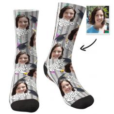 Custom Grad Photo Socks(Confetti) – Funny Face Socks – MyPhotoSocks
