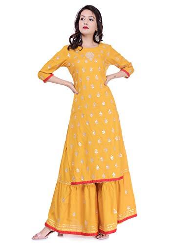 Arayna Women's Rayon Kurti Palazzo Set, Yellow