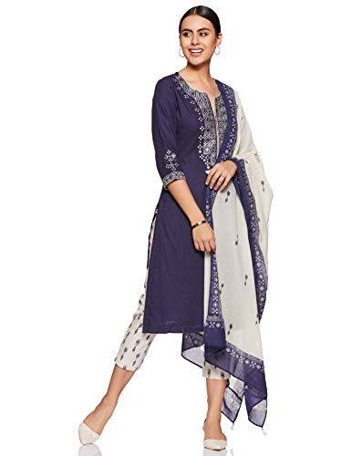 Biba Indigo and Off White Cotton Straight Suit Set