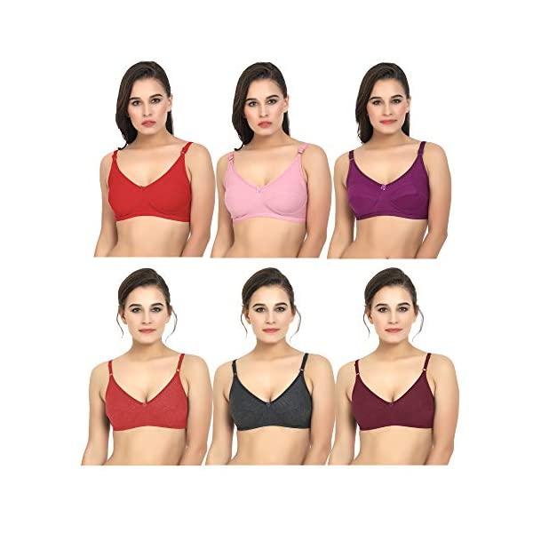 Bilqis Women's Cotton Full Coverage Push Up & Sports Bra (Pack of 6)