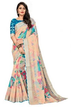 CLOTHAM Women's Banarasi Linen Saree With Unstitched Blouse (Digital_Print_Saree110_Multicolored)