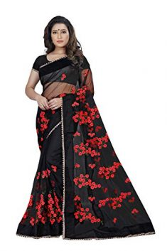 Bollyclues Women's Mono Net Embroidered And Pearl Work Saree (Mc-1199_Free Size)